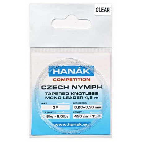 Hanak Knotless Tapered Czech Nymph Leader - Clear