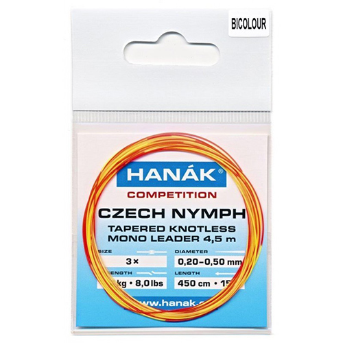 Hanak Tapered Knotless Czech Nymph Leader Bicolour