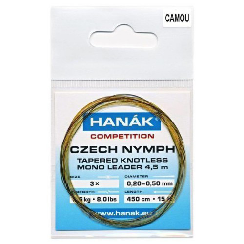 Hanak Knotless Tapered Czech Nymph Leader Camo
