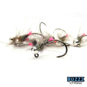 Silver Tungsten UV Purple and Squirrel Barbless Jig Nymphs Trout and Grayling x3